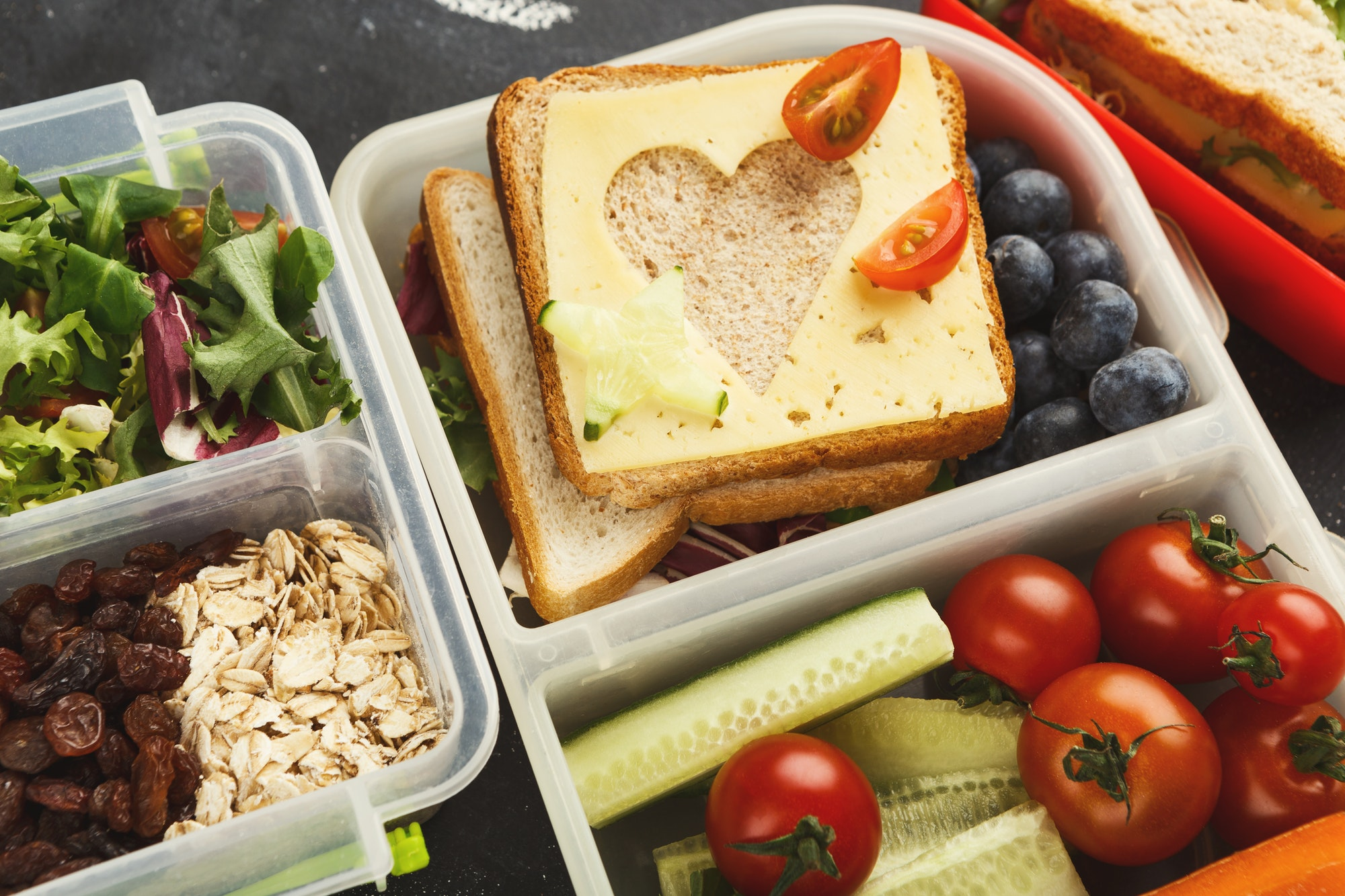 Lunch boxes for kid. Healthy snack for school dinner